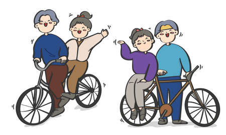 cartoon couple riding a bicycle vector, Valentine's day, couple illustrations.