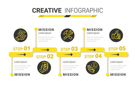 Timeline infographic template with 5 options, vector infographics design and Presentation business can be used for workflow layout, steps or processes. Иллюстрация