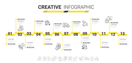 Timeline Infographics Template, Vector infographics timeline design template with 13 label, Vector. can be used for workflow layout, diagram, number step up options. Иллюстрация