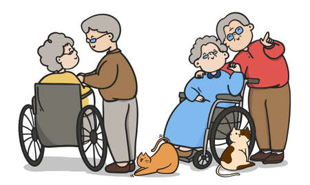 Cartoon old people couple, Couples to Spend Time Together, Valentine's day, couple illustrations. Иллюстрация