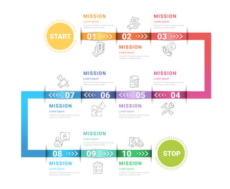 Timeline Infographics Template, Vector infographics timeline design template with 10 label, Vector. can be used for workflow layout, diagram, number step up options.