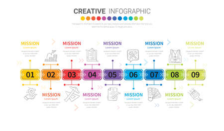 Infographic design template with 9 options, Can be used for process diagram, presentations, workflow layout, banner, flow chart, info graph. Иллюстрация