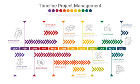 Timeline Project for 12 months, 1 year, All month planner design and Presentation business project. Иллюстрация