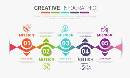 Infographic design template with numbers 5 option can be used for workflow layout, diagram, number step up options. Иллюстрация