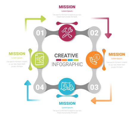 Infographics cycle diagram, presentation and round chart. Business concept with 4 equal options, parts, steps or processes. Startup layout for your project.