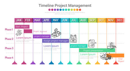 Project timeline for 12 months, 1 year, All month planner design and Presentation business project. Иллюстрация