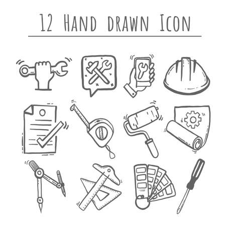 Simple Set of Engineering, hand drawn Vector, 12 Icons. Contains such Icons as Manufacturing, Engineer, Production, Settings and more, editable vector stroke.