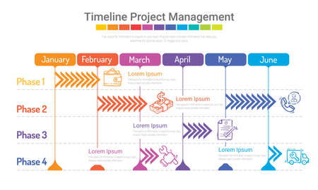 Project timeline graph for 6 months, Half a month planner design and Presentation business project, Can be used for workflow layout, diagram, web design. Vector eps 10.