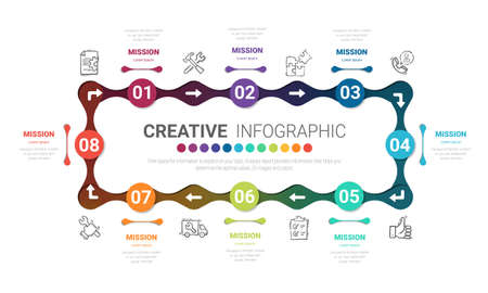 Circle Infographic thin line design and 8 options or steps. Infographics for business concept. Can be used for presentations banner, workflow layout, process diagram, flow chart. Иллюстрация