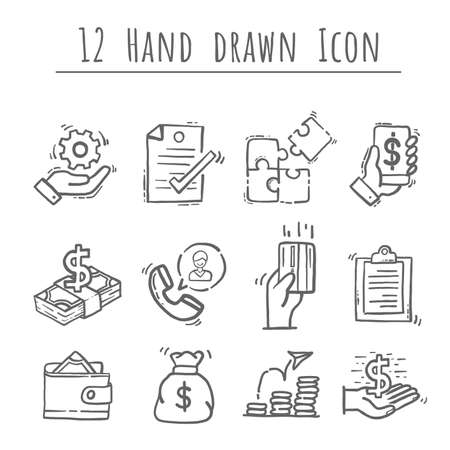 Business icons set, hand drawn Vector 12 Icons. Contains such Icons as Manufacturing, Engineer, Production, Settings and more, editable vector stroke. Иллюстрация