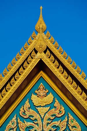 buddhist temple roof: Buddhist temple roof detail in Thailand. Stock Photo