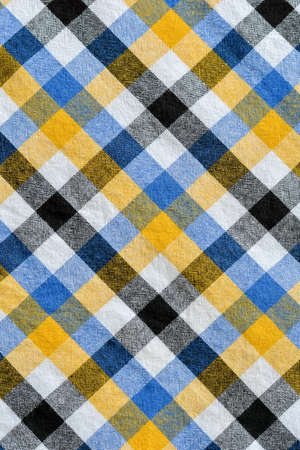 linen texture: Yellow and white blue plaid fabric Linen checkered texture.