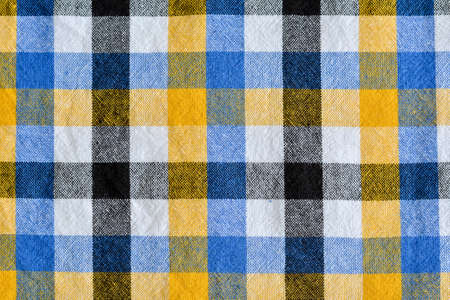 blue plaid: Yellow and white blue plaid fabric Linen checkered texture.