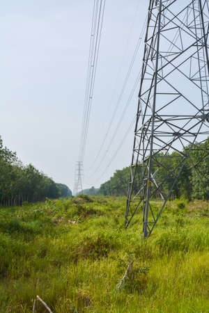 power pole: High voltage power pole. Lead to prosperity.