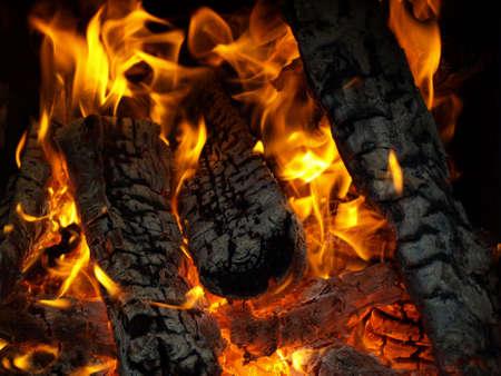 Logs burns in hot fire Stock Photo - 3834601