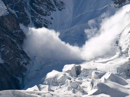 avalanche: Mountains. Caucasus. Kabardino-Balkaria. Bezengi. Avalanche