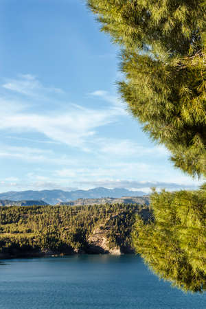 wheater: landscape whith pine trees blue lake and montains in the horizon