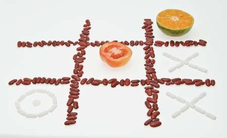 organic fight medicine, tomato, orange with drug photo