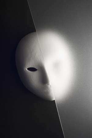plaster mask in studio, when compared to the good or bad