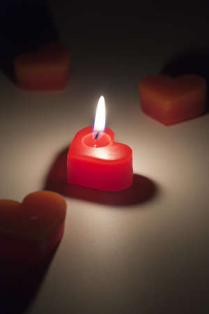 Heart-shaped candles  meaning of love or get married photo