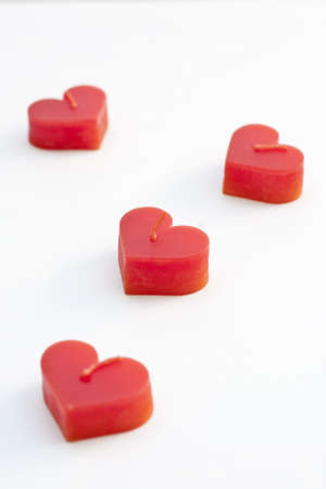 Heart-shaped candles  meaning of love or get married Stock Photo