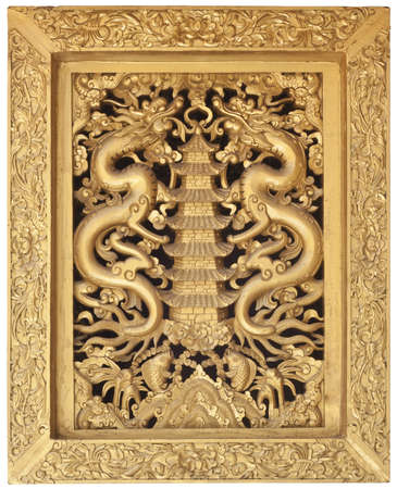 dragon frame, decoration chainese style for window in temple