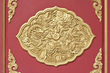 dragon frame, decoration chainese style for window in temple Stock Photo