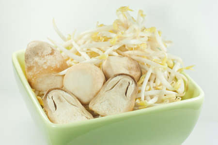 bean sprouts and straw mushrooms Stock Photo