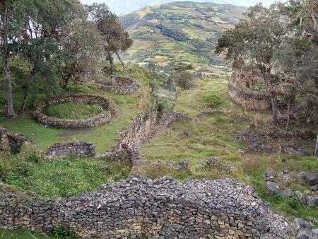 Circular houses and walls, Kuelap, Luya, Amazonas, Peru, South America