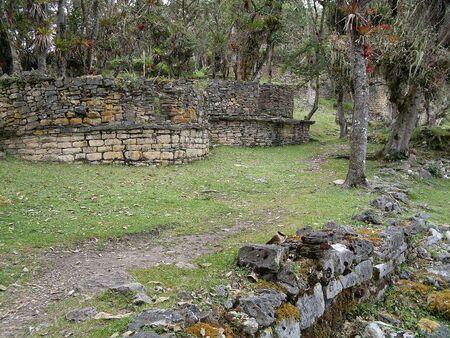 Circular houses with forest, Kuelap, Luya, Amazonas, Peru, South America