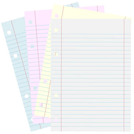 Blank Piece of School Lined Paper on White Stock Photo - 7110463