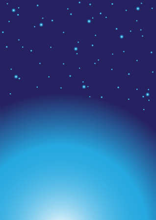 Abstract Background - Stars and Planet on Dark Background Stock Vector - 7233745