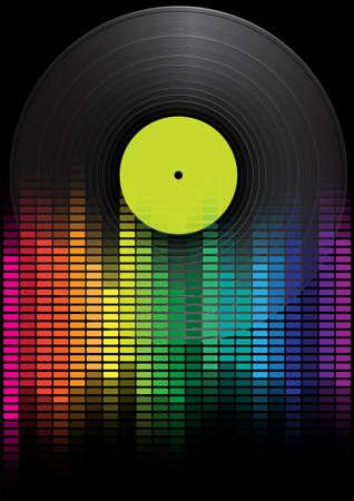 Party achtergrond - Vinyl Record en Multicolor Equalizer op zwarte achtergrond Vector Illustratie