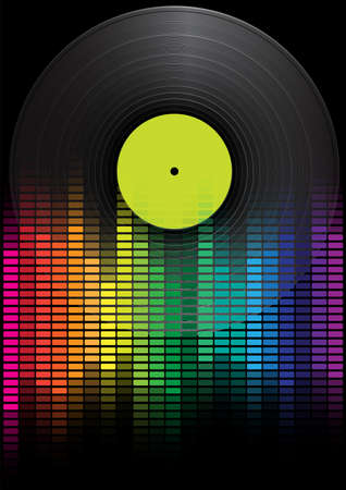 analyzer: Party Background - Vinyl Record and Multicolor Equalizer on Black Background Illustration