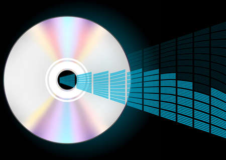 Compact Disc and Blue Graphic Equalizer Stock Photo