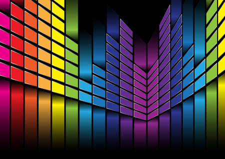 loudness: Multicolor Equalizer on Black Background Stock Photo