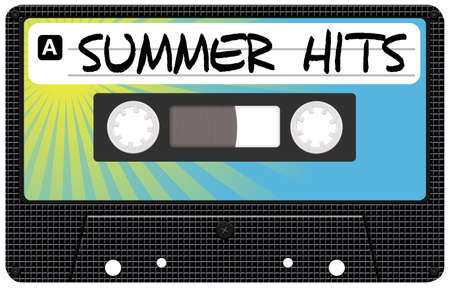 hits: Illustration of Retro Audio Cassette Tape With Summer Hits Sign Stock Photo