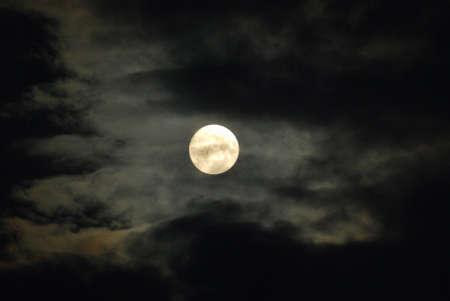waning moon: Night Sky - Full Moon and Dark Clouds