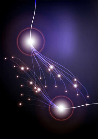 Glowing Optical Fibers on Dark Background photo