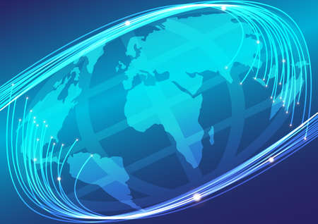 optic: Optical Fibers and Globe on Blue Background Stock Photo