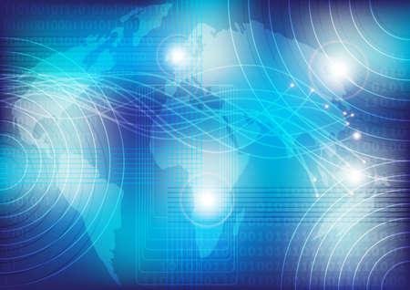 Optical Fibers and Globe on Blue Background photo