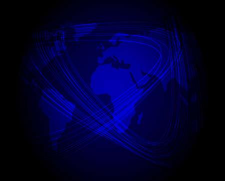 Glowing Optical Fibers and World Map photo