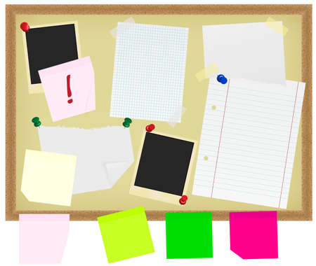 Photo Frames, Notepads and Papers on Noticeboard Stock Photo - 7695458
