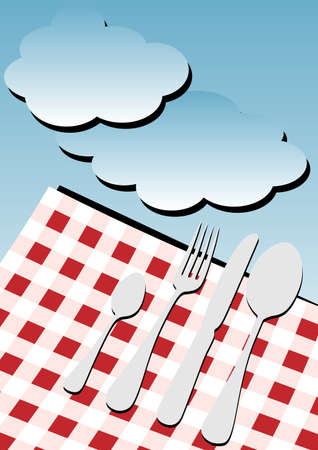 Menu Card Backgrond - GinghamTable Cloth and Cutlery under Blue Sky  photo