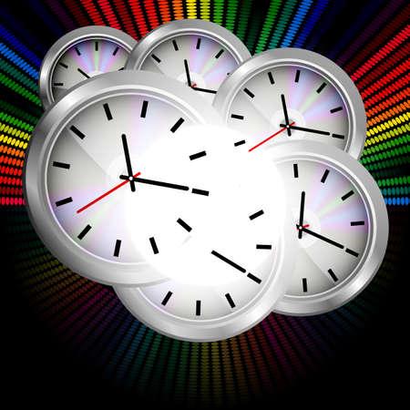 orologio da parete: Orologio parete su sfondo multicolore  Archivio Fotografico