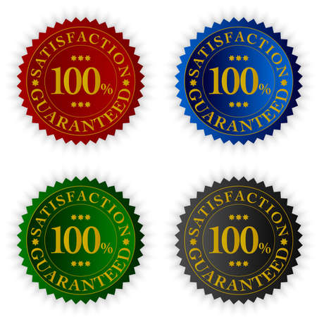 Set of Tags With Satisfaction Guaranteed Sign in Four Colors photo