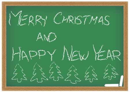 school years: Green Chalkboard with Merry Christmas and Happy New Year Sign Stock Photo