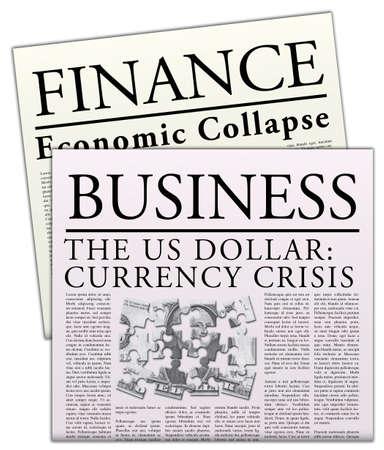 crisis economica: Peri�dicos econ�micos ficticia  Foto de archivo