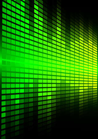 Abstract Background - Green Graphic Equalizer on Black Background Vector