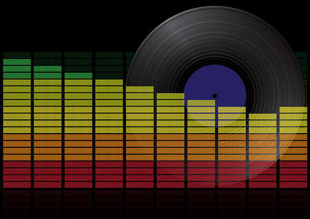 long play: Party Background - Vinyl Long Play Record and Graphic Equalizer